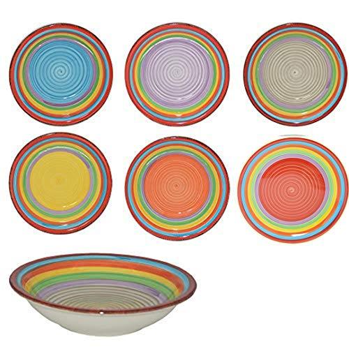 DRULINE Teller-Set Ibiza für 6 Personen | Suppenteller Tief | 650 ml | Salat-Teller | Runde Servier-Schale | Steingut-Schüssel | Handbemalt | Mehrfarbig