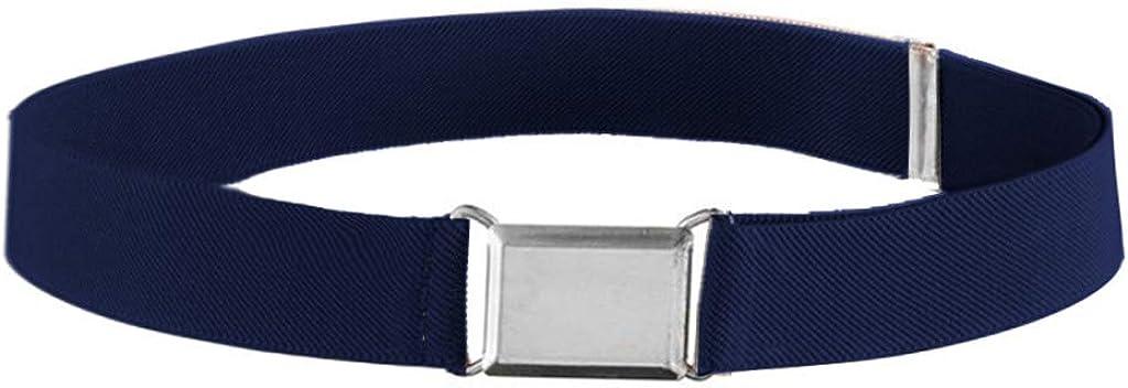 CapsA New Kids Toddler Belt Elastic Adjustable Stretch Unisex Belts Silver Square Buckle