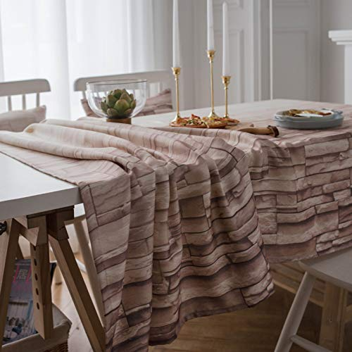 WSJIABIN Home Decor tablecloths Nordic Style Dining Room Living Room Coffee Table Brick Pattern Tablecloth Purple Tablecloth Rectangular Tablecloth