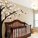 Large Corner Tree Wall Decal with Big Blossoms, Birds and Leaves Nursery Wall Art Sticker Mural 087 (Leaning Right, Black, White)
