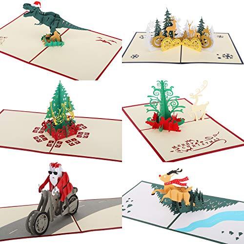 MoKo 3D Grußkarten, 6 Stück Frohe Weihnachten Faltkarte, Weihnachtsbaum, Weihnachtsmann, Rentier Pop Up Karte Geschenk für Weihnachten