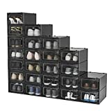 Pellebant 24 Pack Stackable Shoe Storage Boxes, Foldable Plastic Shoe Organizer for Closets, Entryway Shoe Rack, Clothing Rack, Bed, Easy Assembly, Small/Black