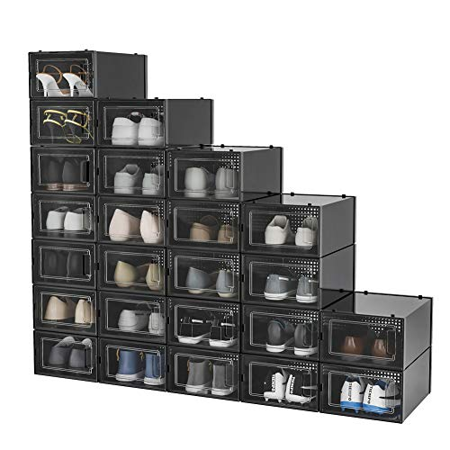 Pellebant 24 Pack Shoe Storage Boxes, Clear Plastic Large Stackable Shoe Organizer Bins, Drawer Type Front Opening Sneaker Shoe Holder Containers, Small/Black