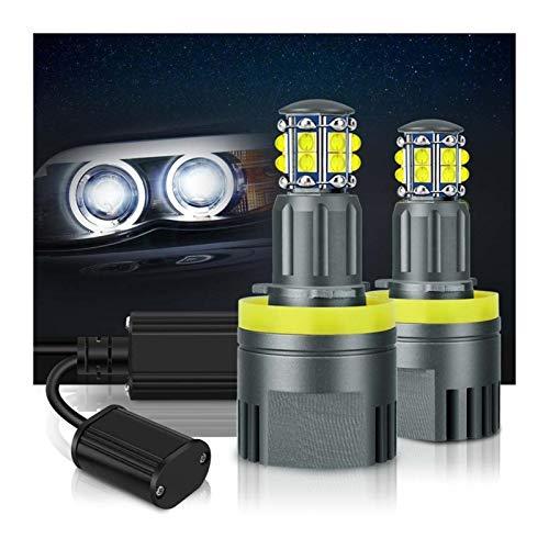 2 unids LED Angel Eyes luces CANBUS for BMW E60 E61 E63 X5 E70 X6 E71 E90 E91 E92 E93 M3 E89 E82 E87 H8 LED Faros LED 6000K Blanco Angel Eyes