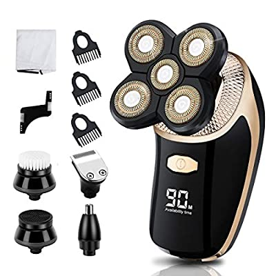 Electric Shaver for Men Blusmart 7 in 1 Rechargeable USB Rotary Shavers 4D Razor Shaving Wet Dry Men Shaver Waterproof Bald Men Head Shavers Facial Grooming Kit Beard Nose Hair Trimmer from RCEU