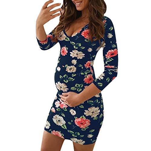 Snakell Damen V-Ausschnitt Stillkeid Umstandskleid Böhmischer Druck Strandkleider Stillkleid Schwangerschafts Kleid Mode Still-Nachthemd Stillen Kleid Umstandsmode Damen Kleider Cocktailkleid