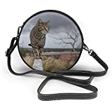 TURFED Bolso de hombro redondo de PU Estilo Gato Animal doméstico Bolsa cruzada al aire libre