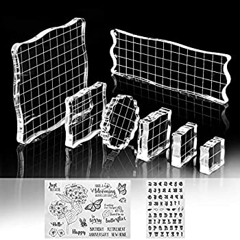 7 Pieces Stamp Blocks with Grid and Grip Clear Acrylic Stamping Blocks Tools Set Including 2 Silicone Stamps Decorative Stamp Blocks for DIY Scrapbooking Crafts Making