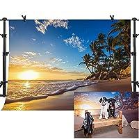 MME 10x7フィート サンセット ビーチ ヤシの木 夏 休暇 写真 背景 ビニール写真 ビデオ スタジオ 小道具 PME575