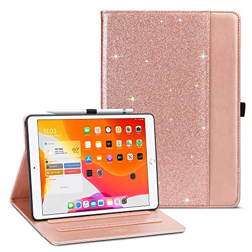 ULAK iPad 10.2 Case with Pen Holder Card Holder, iPad 8th Generation Case Premium PU Leather Cover, Auto Sleep/Wake Up Protection Smart Cover for iPad 10.2 inch 7th 2019/8th 2020 Generation, Glitter