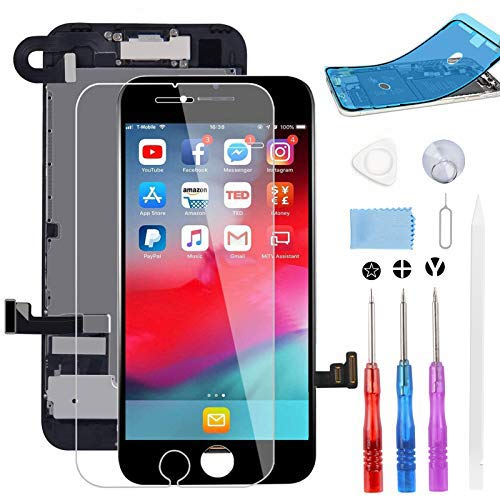 "BeeFix Screen Replacement for iPhone 7 Black, 4.7"" LCD Display and 3D Touch Digitizer Full Assembly, with Proximity Sensor,Front Facing Camera,Earpiece Speaker and Repair Tools,for A1660, A1778, A1779"
