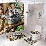 YRWDNV 3D Duschvorhang gesetzt Graubraunes TierWasserdicht Schimmel Resistent Badezimmer Gardinen Badezimmer Set Teppich Duschvorhang Gesetzt Toilettenmatte 180 x 180 cm