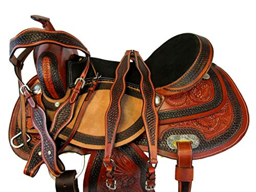 PRO Western Saddle 15 16 17 Barrel Racing Pleasure Horse Leather Trail TACK Set (16)