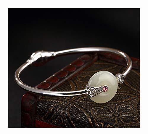 FAYFMA Pulsera de plata de ley con incrustaciones de jade para mujer, estilo retro, con piedras preciosas, de plata, para regalo