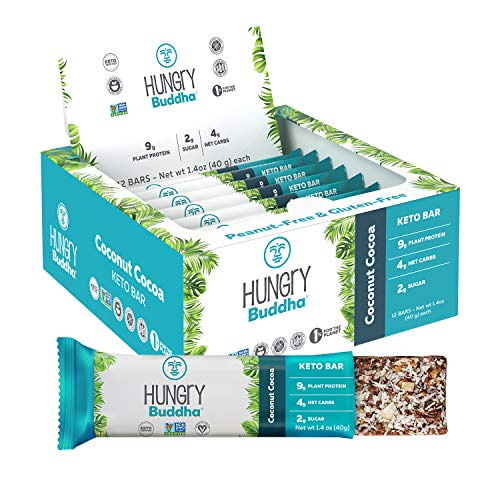 NEW Hungry Buddha Keto Bars - The Low Sugar, Low Net Carb, Plant-Based Bar Snack made with Clean Ingredients [Coconut Cocoa; 12-Pack]