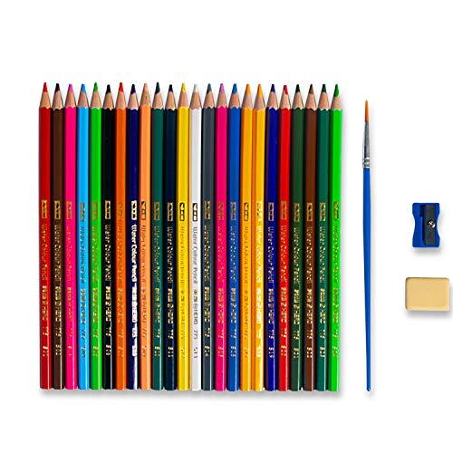 Buntstift Set für Erwachsene und Kinder Professionelles Stifte-Set mit Soft Mine Buntstifte-Set für Künstler Kugelschreiber-Set Brush Pen Set N+1 Pinselstiften Aquarellpinsel(24)