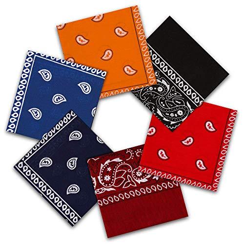 Vivibel Bandana Kopftuch, 100% Baumwolle 6er Paisley Bandanas Halstuch 55 x 55 cm Kopftuch Armtuch Mischfarben Haar, Hals, Kopf Schal Nickituch Vierecktuch