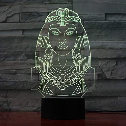 BFMBCHDJ Neuheit 7 Farben Ändern Nachtlicht Ägypten Cleopatra Atmosphäre Licht 3D Stimmung Touch Lampe Wohnkultur