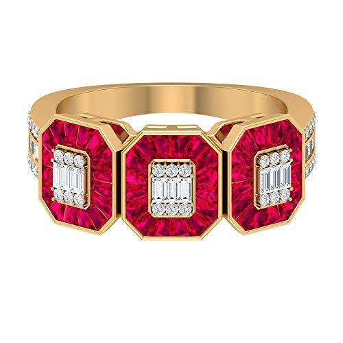 Anillo de rubí de baguette cónico de 6,22 ct creado en laboratorio, anillo de diamantes de 1/2 quilates HI-SI, anillo de boda de oro (calidad AAAA), 14K Oro amarillo, Size:EU 68