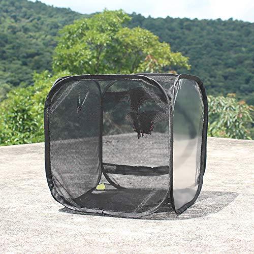 Sharainn Zuchtkäfig, schwarzer tragbarer Schmetterlingshaus Faltbarer Insekten-Lebensraumkäfig für den Außenbereich