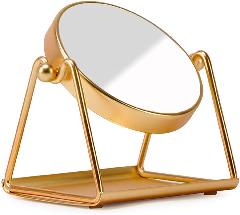 DH JINGZI - Makeup Mirror Makeup Mirror Desktop Round Double-Sided 3 Times Magnification redatable European Rust-Proof Iron Carbon Alloy, 2 colors (color   gold color, Size   12x9x13.5cm)