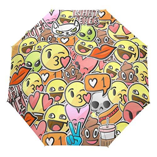 Liebesherz Lustiger Emoji Auto Regenschirm Öffnen Schließen Winddichtes Reisen Niedliche Emoticons Regenschirm Leichter kompakter Sonnenschirm Sonnenschirm & Regen