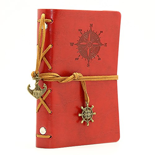 Leather Writing Journal Notebook, EvZ 5 Inches Vintage Nautical Spiral Blank String Diary Notepad Sketchbook Travel to Write in, Unlined Paper, Retro Pendants, Classic Embossed, Red