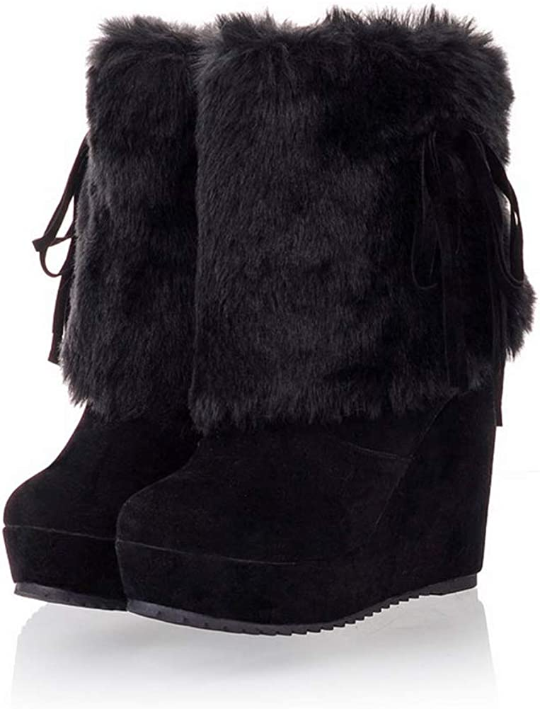 JOYBI Women's Platform Wedges Snow Boots Slip-on Round Toe Warm Fur Lined Winter Faux Suede Ankle Boots