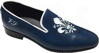 Mocassini Slippers in Pelle patinata con Ricamo Personalizzabili