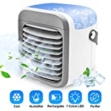 Portable Air Conditioner Fan | LEMAITECH Evaporative Air Cooler with Humidifier & Filtration Function| Personal Small Air Conditioner Desk Fan with 7 Color Night Light Waterbox for Home Office Bedroom