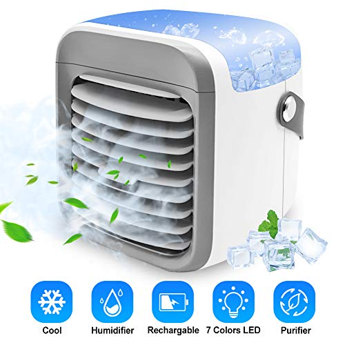 small Air Conditioner Portable Fan | LEMAITECH Humidifier and Evaporative Air Cooler with Filtration Function…