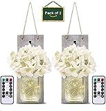 LED Lámpara de Decoración, Tarro de masón lámpara de pared con flores artificiales, Aplique de madera rústico Ganchos de hierro forjado, interior decoración lámpara para cocina, salón.( gris)
