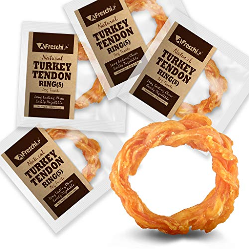 AFreschi Turkey Tendon for Dogs, Premium All-Natural, Hypoallergenic, Long-Lasting Dog Chew Treat, Easy to Digest, Alternative to Rawhide, Ingredient Sourced from USA, 4 Units/Pack Ring (Small)