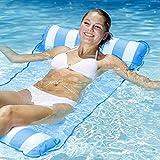 HAOFENG Amaca Gonfiabile Amaca di Acqua Galleggiante Gonfiabile Pieghevole Letto Lounge Materassino Sedia Sdraio da Mare Piscina Spiaggia Giardino per Adulti Bambini