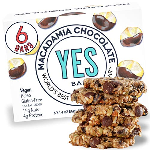 YES Bar – Macadamia Chocolate – Plant Based Protein, Decadent Snack Bar – Vegan, Paleo, Gluten Free, Dairy Free, Low Sugar, Healthy Snack, Breakfast, Low Carb, Keto Friendly (Pack of 6)