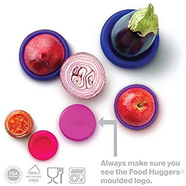 Food Huggers Reusable Silicone Food Savers Set of Five (Bright Berry)