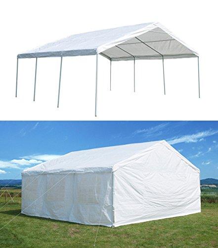 GOJOOASIS 20 x 20 ft Heavy Duty Outdoor Metal Carport w/Sidewalls Commercial Wedding Party Frame Gazebo Tent 3 Rooms