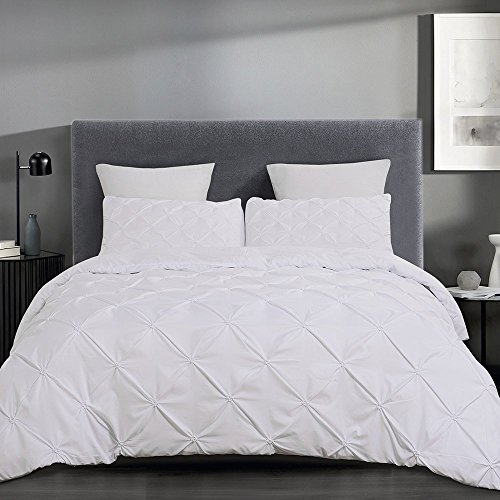 YEPINS Soft Microfiber Pintuck Duvet Cover Set with Zipper Closure, Tufted Pattern Design, White Colour (White, King)