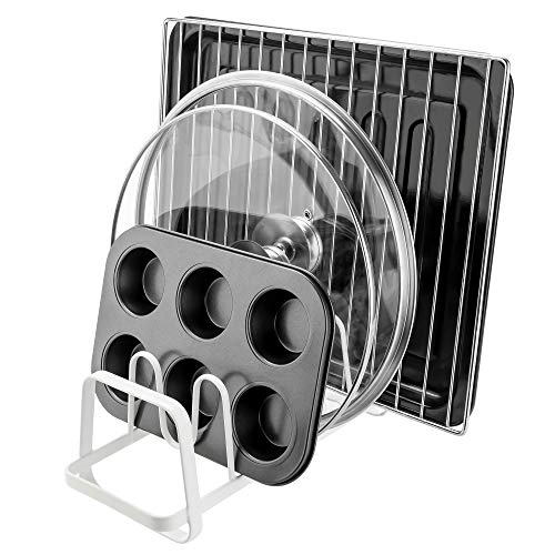 YONGJIE 6 Compartments Pan and Pot Lid Organizer Rack Holder, white