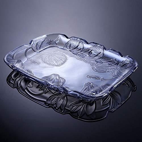 Qiuruixiang - Bandeja transparente para tazas de cristal para el hogar, aperitivos y frutas, bandejas QI511