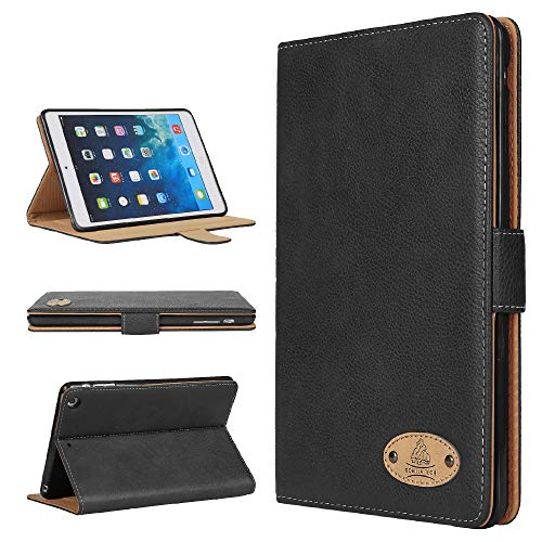 Gorilla Tech Apple iPad Mini 5 Leather Case Genuine Luxury Executive Smart Protective Designer Stand Cover for Mini 5th Generation Model A2133 A2124 A2126 A2125 Black Leater Retail Packing