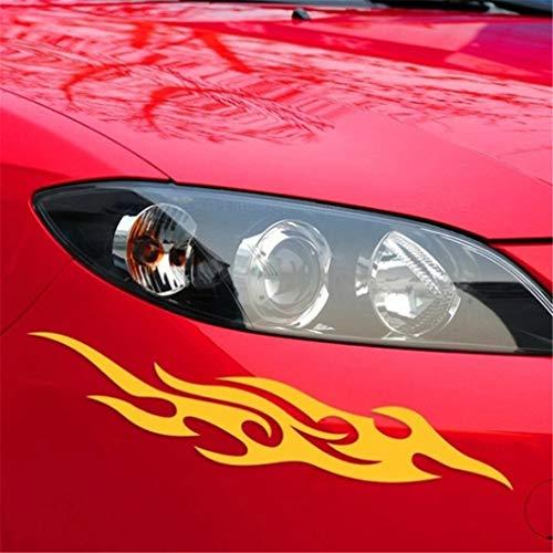 Calcomanía de vinilo CAVIVIUK para parachoques de coche, diseño de llamas, PET, Amarillo, 18 cm