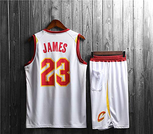 YDYL-LI Jerseys para Hombres, NBA Cleveland Cavaliers-Lebron James # 23 - Niño Adulto Classic Sport Ropa Sin Mangas Camiseta Sin Mangas, Confort Tops Tops Uniformes Set,Blanco,4XL (Adult)