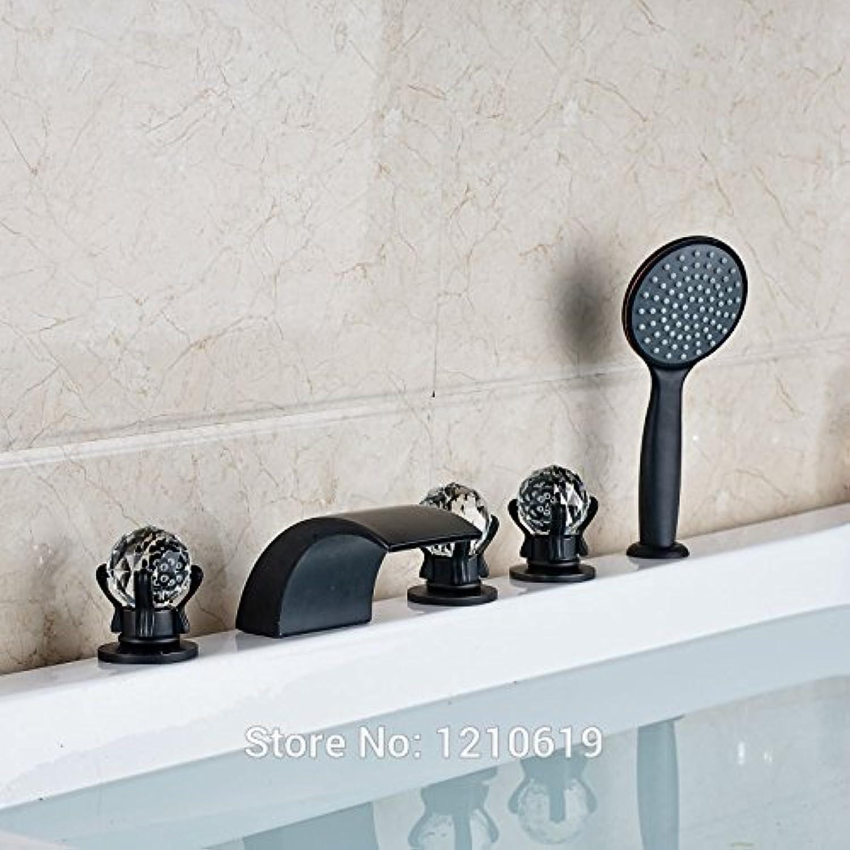 Neu l Eingerieben Bronze Badewanne Mischbatterie Set w ABS Handbrause 5 Stücke Wasserfall Badewanne Wasserhahn Kristall Griffe, Multi