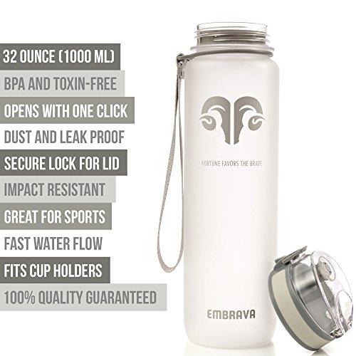 Embrava Best Sports Water Bottle - 32oz Large - Fast Flow, Flip Top Leak Proof Lid w/One Click Open - Non-Toxic BPA Free & Eco-Friendly Tritan Co-Polyester Plastic (White)