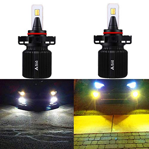 Alla Lighting 8000LM 5201 5202 LED Switchback Fog Lights Bulbs Extremely Super Bright Dual Color 6000K Xenon White / 3000K Yellow Switch PS19W PS24WFF Fog Daytime Running Lights Replacement