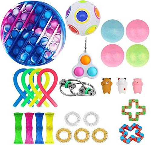 Gupgi Simple Dimple Fidget Toys Mini Stress Reliever Hand Toys Keychain Toy Bubble Wrap Pop Anxiety Stress Relief Office Desk Toys for Kids Adults (11, 26 PCS)