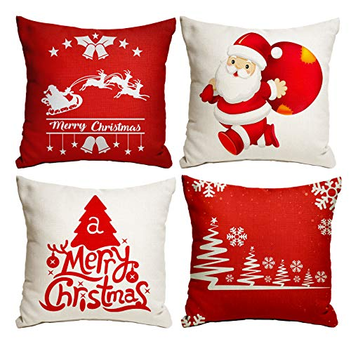 Kidtion Christmas Pillow Cover 18'x18', Set of 4 Christmas Farmhouse Throw Pillow Covers for Sofa & Home Decor, Delicate Christmas Pillow Cases, Christmas Cushion Covers with 4 Different Patterns