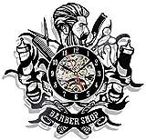Reloj de pared de vinilo Ber Shop Reloj de pared Reloj de pared con registro de vinilo Reloj de pared colgante de peluquería para salón Ber Reloj silencioso de 12 pulgadas para sala de estar Dormitori