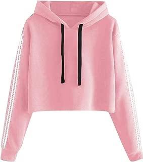 Women's Long Sleeve Casual Sweatshirt Crop Top Hoodies Cowl Neck Long Sleeve Drawstring Pullover Sweatshirts Hoodie